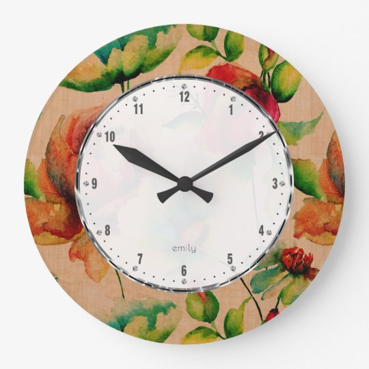 Watercolors Red Budding Roses On Blonde Wood Wall Clock