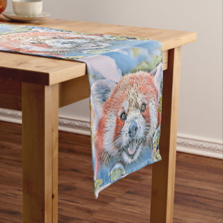 Watercolors - Red Panda Medium Table Runner