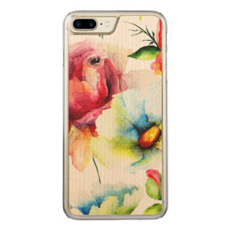 Watercolors Red Rose And White Daisy Illustration Carved iPhone 8 Plus/7 Plus Case