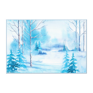Watercolors Snowy Winter Nature Landscape Canvas Print