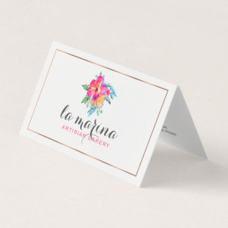 Watercolors Tropical Flowers Bouquet Business Card