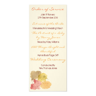 Watercolour Autumn Leaves Order of Service Card