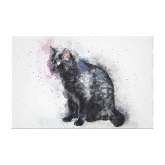 Watercolour Black Cat Canvas Print
