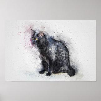 Watercolour Black Cat Poster Print