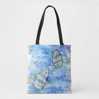 Watercolour boats on the Silvery Tay Tote Bag
