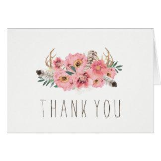 Watercolour Bohemian Wedding Thank You Cards