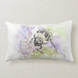 Watercolour British Wildlife Bee, Lumbar Pillow. Lumbar Pillow