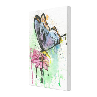 Watercolour butterfly on daisy flower canvas print