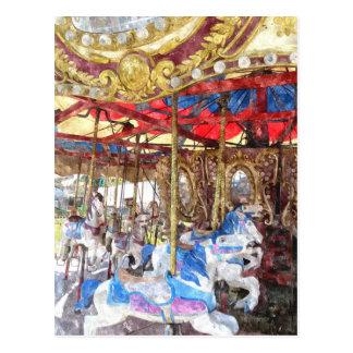 Watercolour Carousel Postcard
