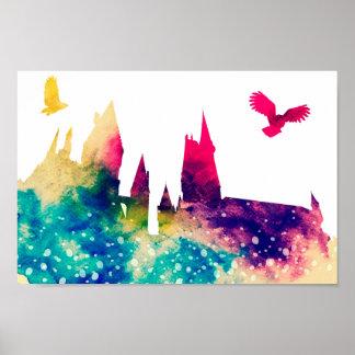 Watercolour Castle & Owl Poster Print