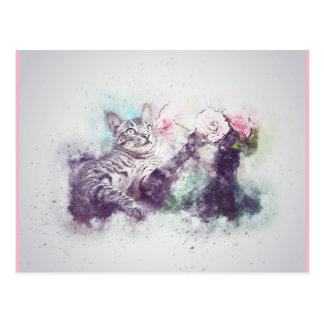 watercolour cat postcard