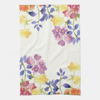 Watercolour Colourful Wild Flowers Tea Towel