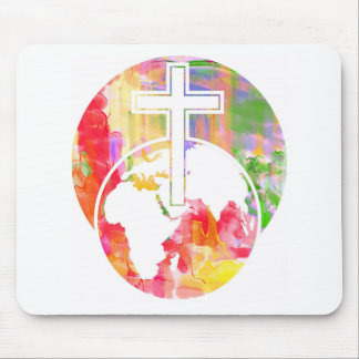 watercolour cross abstract easter mouse pad