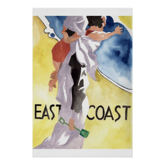 Watercolour Deco style advertisment Poster