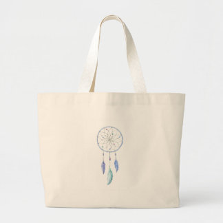 Watercolour Dreamcatcher with 3 Feathers Large Tote Bag