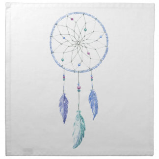 Watercolour Dreamcatcher with 3 Feathers Napkin