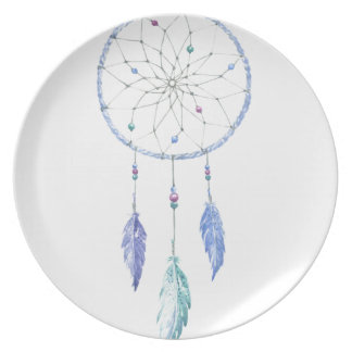 Watercolour Dreamcatcher with 3 Feathers Plate