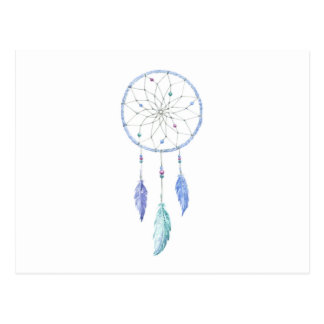 Watercolour Dreamcatcher with 3 Feathers Postcard