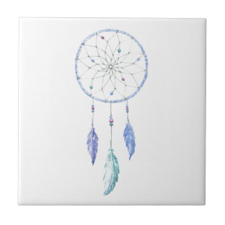 Watercolour Dreamcatcher with 3 Feathers Tile