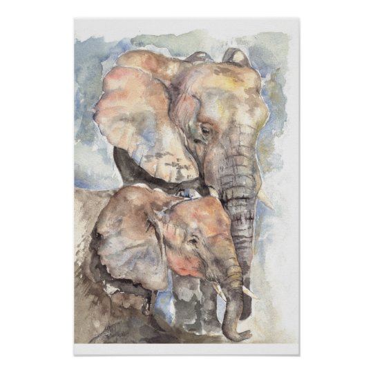 Watercolour elephants poster