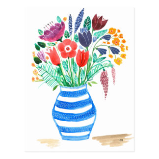 Watercolour Floral Blue Vase, Bright Flowers Postcard
