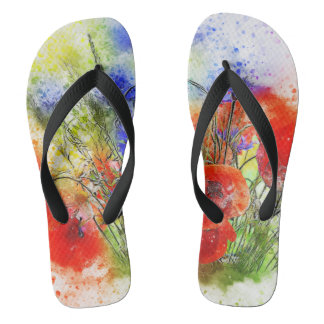Watercolour Floral Bouquet Designer Flip Flops