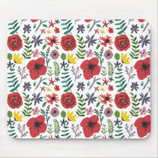 Watercolour Floral Pattern Mouse Pad