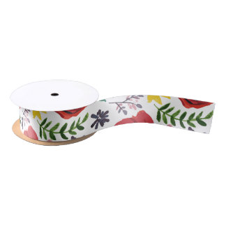 Watercolour Florals Design Satin Ribbon