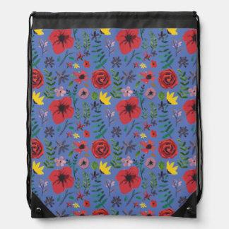 Watercolour Florals Drawstring Bag