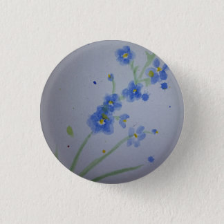 Watercolour forget-me-not badge 1 inch round button