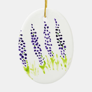 Watercolour grape hyacinth ceramic oval ornament
