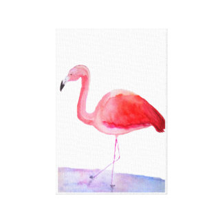 Watercolour hand painted flamingo canvas print