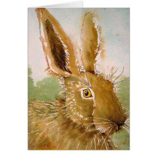Watercolour Hare Card