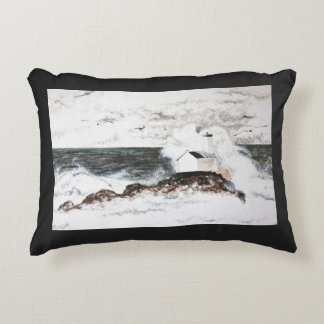 Watercolour headlight Brittany storm sea waves Decorative Pillow