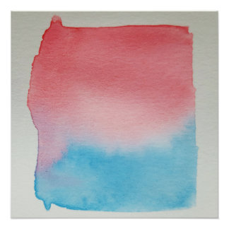 Watercolour Horizons Blue Red Poster Print