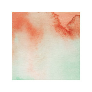 Watercolour Horizons Green Brown Wrapped Canvas
