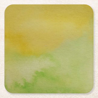 Watercolour Horizons Green Yellow Coaster