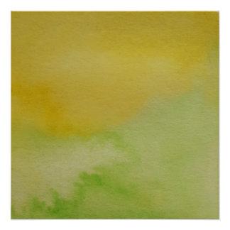 Watercolour Horizons Green Yellow Poster Print
