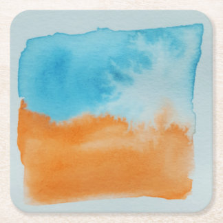 Watercolour Horizons Orange Blue Coaster