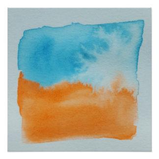 Watercolour Horizons Orange Blue Poster Print