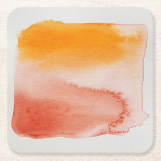 Watercolour Horizons Orange Brown Coaster