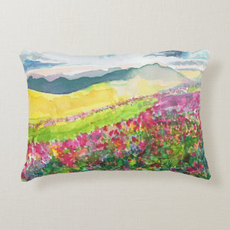 watercolour landscape cushion