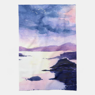 Watercolour Loch Lomond Purple Painting Tea Towel