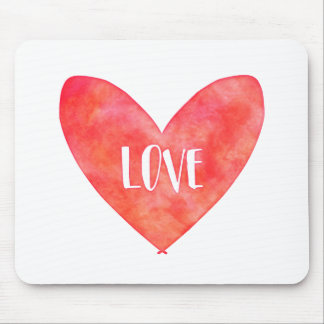 Watercolour Love Heart Typography Mouse Pad