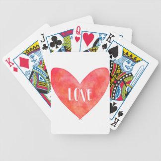 Watercolour Love Heart Typography Poker Deck