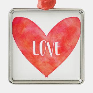 Watercolour Love Heart Typography Silver-Colored Square Ornament