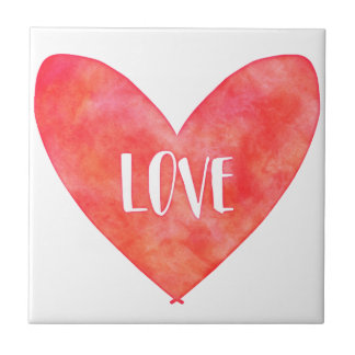 Watercolour Love Heart Typography Tiles