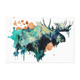 Watercolour Moose Canvas Print