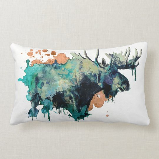 Watercolour Moose Pillowb Lumbar Pillow