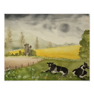 Watercolour of English Countryside Fields & Cows Poster